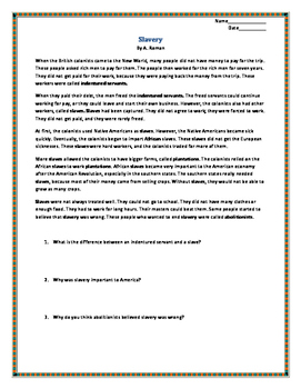 Slavery Informational Text & Comprehension Questions