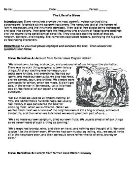 Slavery Primary Source Analysis