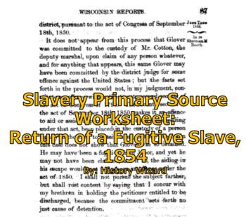 Slavery Primary Source Worksheet: Return of a Fugitive Sla