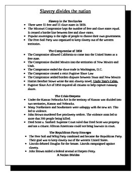 Slavery divides the nation review sheet