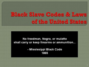 Slavery in the United States - Black Slave Codes