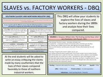 Slavery vs. Factory Workers - DBQ