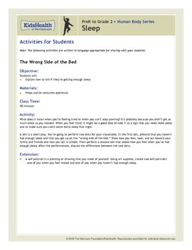 Sleep Teacher's Guide (Pre-K to Grade 2)