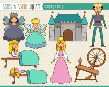 Sleeping Beauty Clip Art - color and outlines