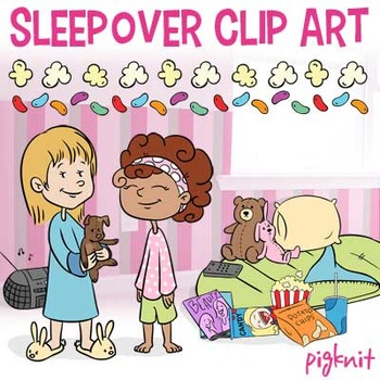 Sleepover Clip Art, Slumber Party | Sleeping Bag, Popcorn,