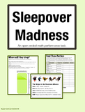 Sleepover Madness: Open Ended Performance Task Math Projec
