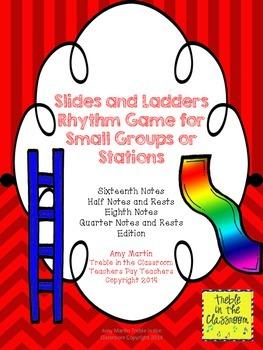 Slides and Ladders: Rhythm Reading Game Sixteenth, Half, Q