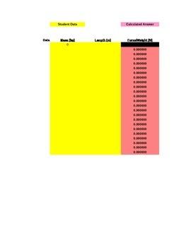 Slinky Spring Lab Grading Spreadsheet