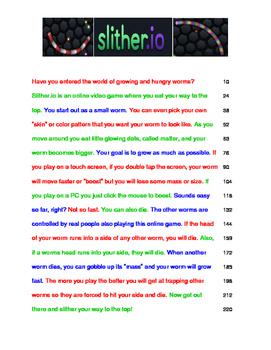 Slither.io  SlitherO FLUENCY Passage 3rd Grade Readability