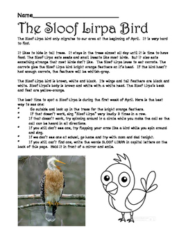 Sloof Lirpa Bird for April Fools Day