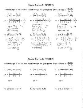 Slope Formula NOTES ANSWER KEY