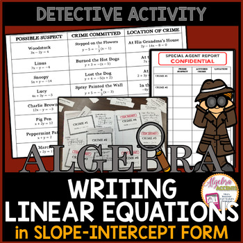 Writing Linear Equations in Slope Intercept Form Detective