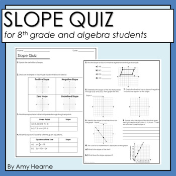 Slope Quiz with Answer Key