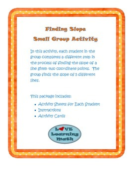Slope Small Group Activity