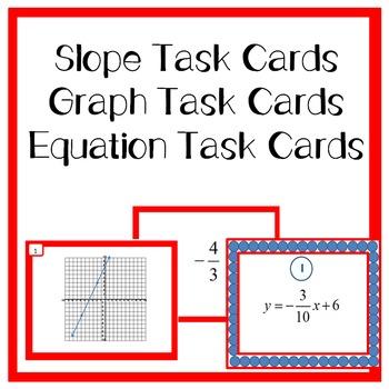 Slope Task Cards, Line Graph Task Cards, and Equation Task Cards