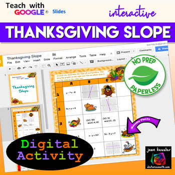 Slope Thanksgiving Algebra Activity with Google Slides