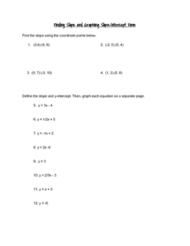 Slope and Graphing Slope Intercept Form