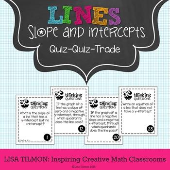 Slope and Intercepts of Lines Quiz Quiz Trade Activity
