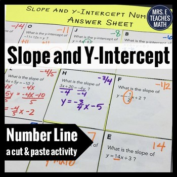 Slope and Y-Intercept Cut and Paste Activity
