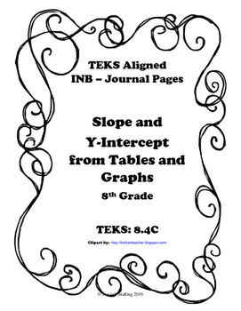 Slope and Y-Intercept from Tables and Graphs INB TEKS 8.4C