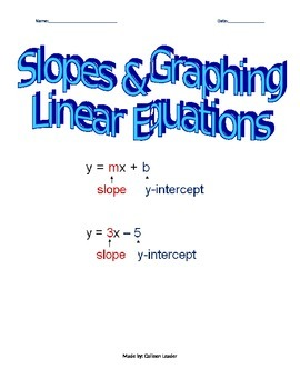 Slopes & Graphing Linear Equations