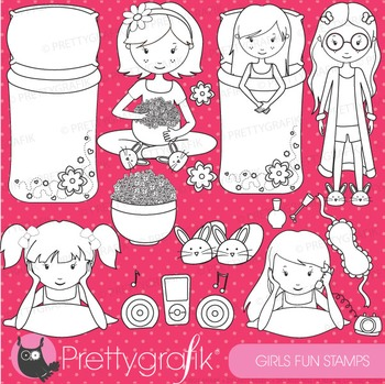 Slumber party stamps commercial use, vector graphics, imag