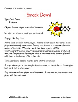 Free Worksheets syllable pattern vccv worksheets : Smackdown Words Their Way Game and Skill Sheet by