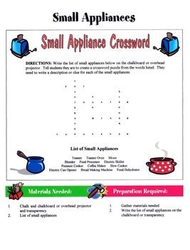 Small Appliances Game / Activity