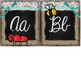 Small Burlap & Chalkboard Cursive Alphabet featuring the M