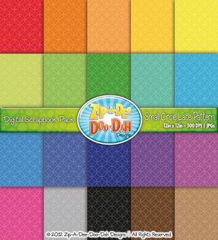 Small Circle Lace Pattern Digital Scrapbook Pack — Basic B