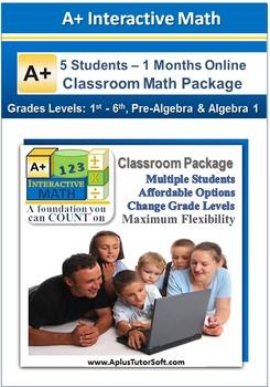 Small Classroom Math Package - Grade K1- Algebra 1 (5 Stud