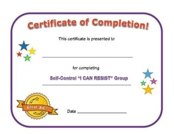 Small Group Completion Certificate: Self-Control