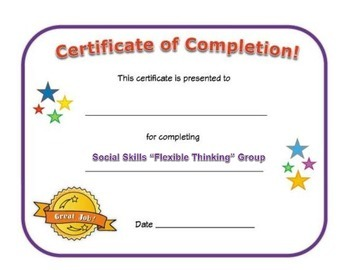 Small Group Completion Certificate: Social Skills