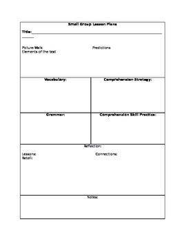 Small Group Lesson Plan Form