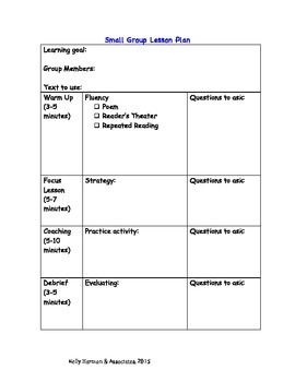 Small Group Lesson Plan Template and Guide for Reading