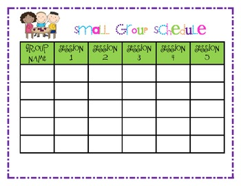 Small Group Planning/Schedule