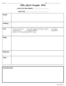 Small Group * RTI  * Special Education - Lesson Plan Template * *
