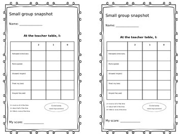 Small Group Snapshot Grading Rubric