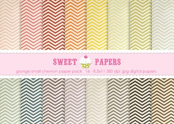 Small Grunge Rainbow Chevron Digital Paper Pack - by Sweet Papers