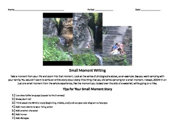 Small Moment Short Story Graphic Organizer