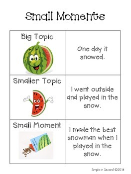 Small Moments Poster for Lucy Calkins Narrative Unit
