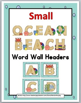 Ocean Theme Alphabet Word Wall Headers - Small Size - Alph