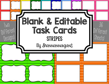 Small Stripes Blank Task Cards (Basic Colors)
