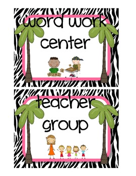 Small Zebra Center Labels and Cards for the Classroom