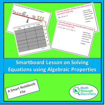 Smart Notebook Lesson on Solving Equations with Algebraic