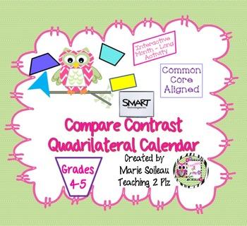 Smart Quadrilateral Compare Contrast Calendar