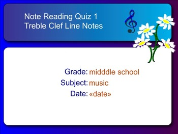 Smart Response Quiz Music Pitch Reading, Treble Clef Line Notes