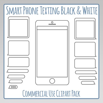 Smartphone Texting Template Black and White Clip Art Pack