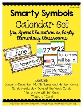 Smarty Symbols Calendar Set for Early Elementary or Specia