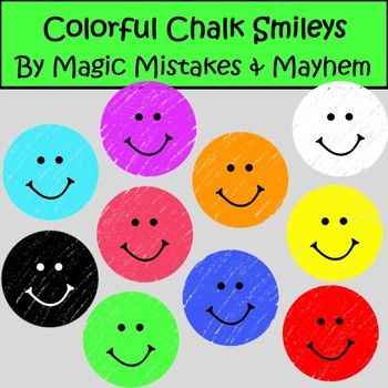 FREEBIE!!! Smiley Face Clip Art- Bright Colorful Chalk Sty
